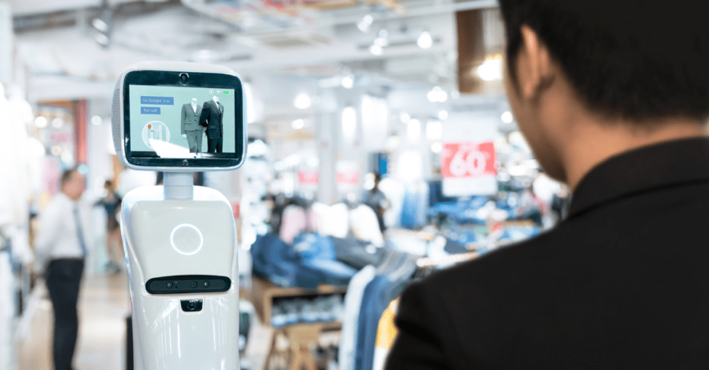 robot navigating customers while shopping